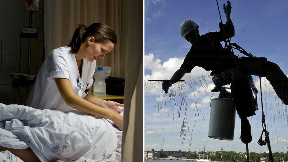 Sjuksköterska och fönsterputsare.
