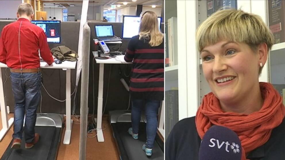 Sjukgymnasten Viktoria Wahlström och två personer på gåband vid dator