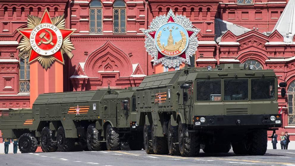 En rysk Iskanderrobot under segerparaden i Moskva 2015. Arkivbild.