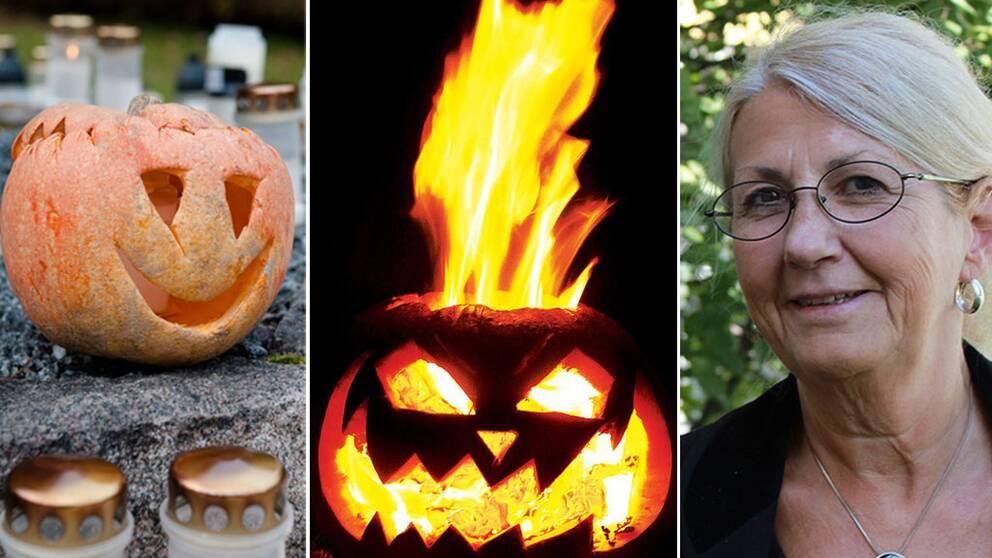 Halloweensymboler och etnologen Agneta Lilja.