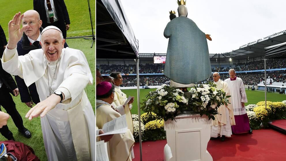 Påve Franciskus var på strålande humör när han mötte de cirka 15.000 åskådare som samlats på den katolska mässa som hölls på Swedbank stadion i Malmö.