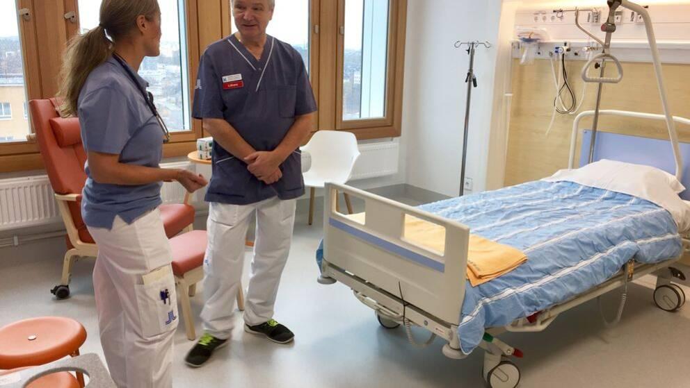 Alla patienter vårdas i enkelrum med tillhörande badrum.