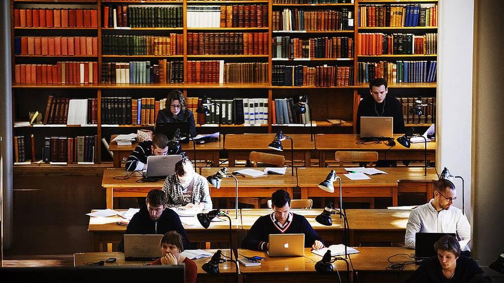 Ett antal människor studerar i ett universitetsbibliotek.
