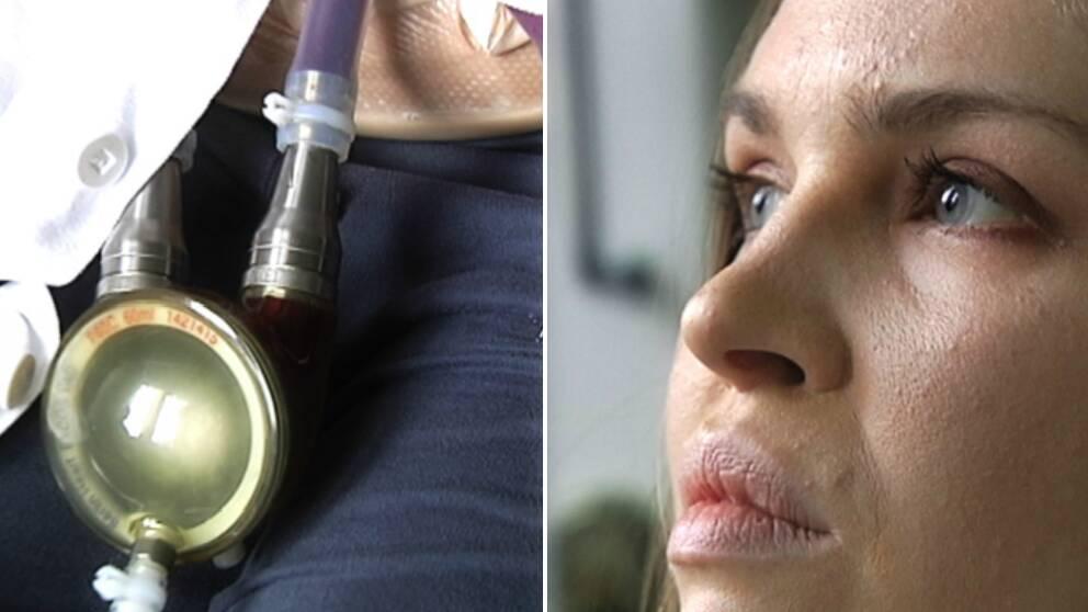 Maria är fastkopplad i sin hjärtmaskin på en avdelning på Sahlgrenska sedan i maj. Nu inkluderar hon maskinen i sitt musikskapande i väntan på ett hjärta.