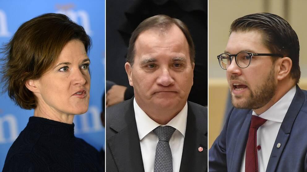 Anna Kinberg Batra (M), Stefan Löfven (S) och Jimmie Åkesson (SD)