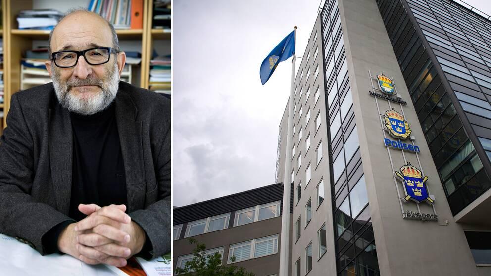 Fotomontage. Porträtt på Jerzy Sarnecki och foto på Uppsala polishus.