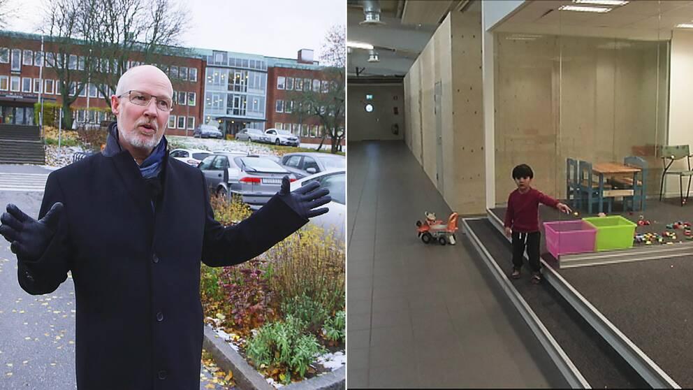 Kommunalrådet i Nacka visar en p-plats där kommunen vill bygga modulhus. I Jönköping får flyktingar bo i en fd bilhall.