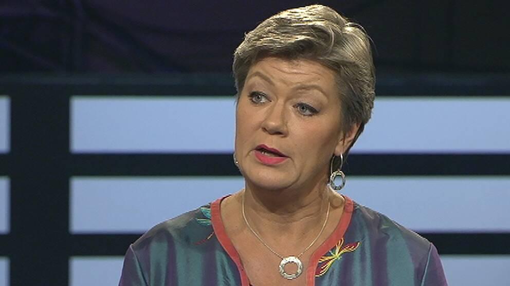 Arbetsmarknads- och etableringsminister Ylva Johansson (S) i Agenda