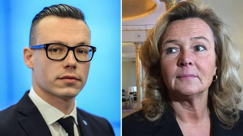 SD:s kommunikationschef Joakim Wallerstein och Grand Hôtels vd Pia Djupmark.