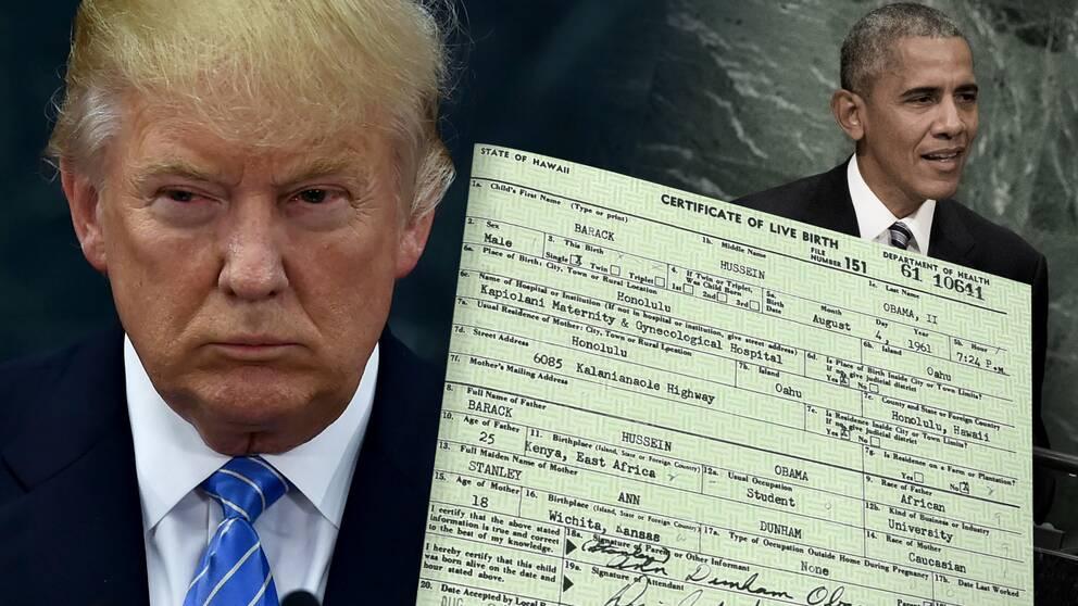 Donald Trump och Obama och hans födelsebevis.