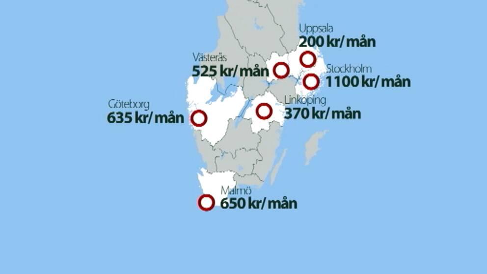 Parkeringavgifter för boendeparkering på olika håll i landet.
