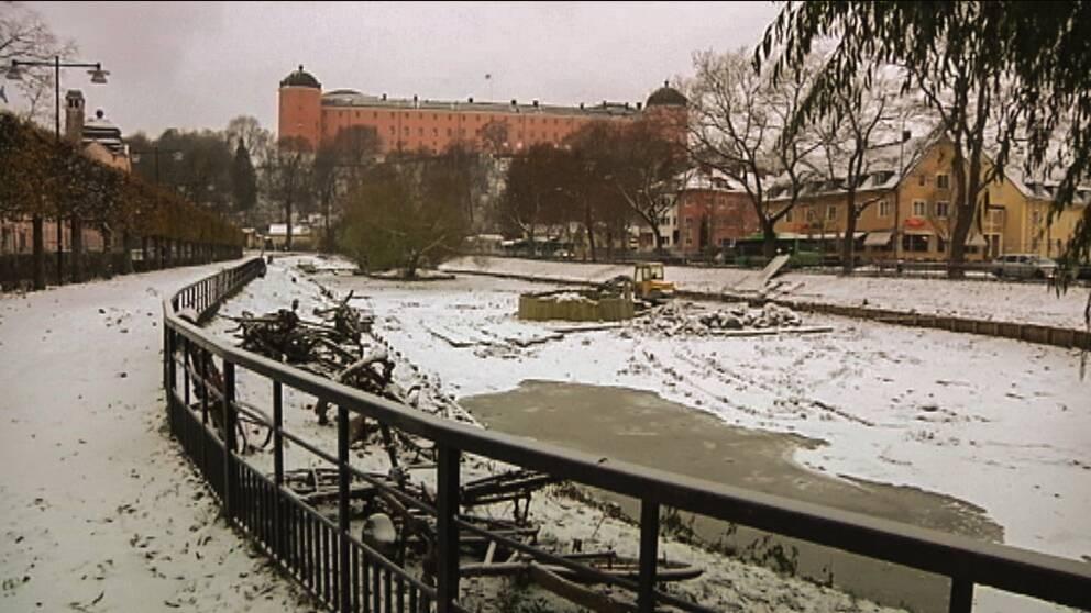 Svandammen vid Slottet i Uppsala.