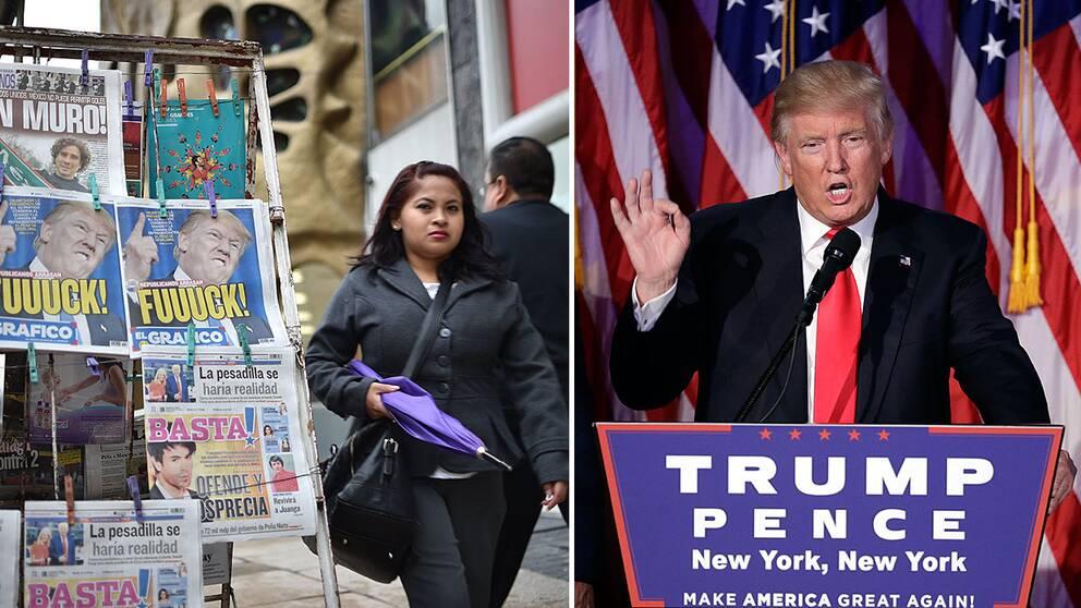 Mexikanska tidningar med Donald Trump på framsidan.