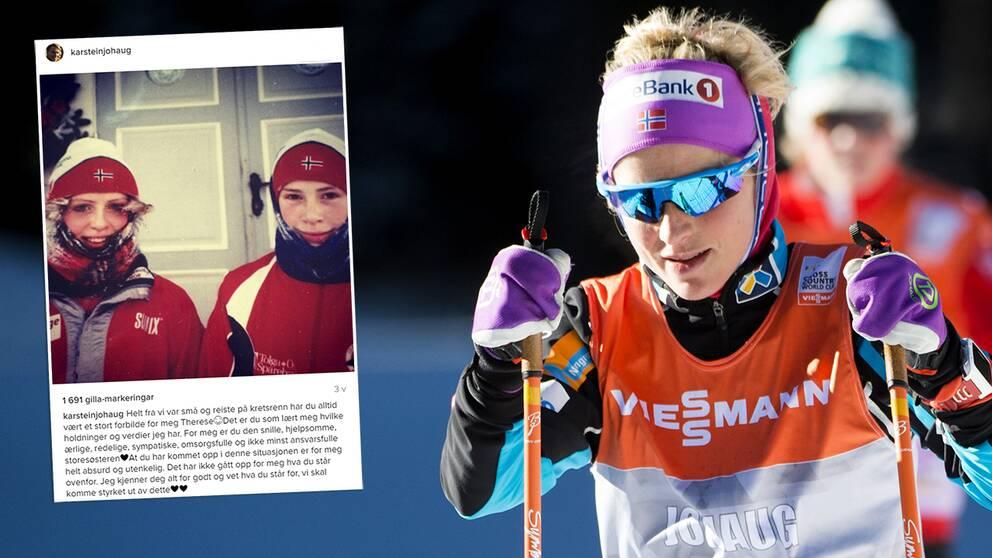 Therese Johaug tränar med sin lillebror Karstein, 24, under avstängningen.