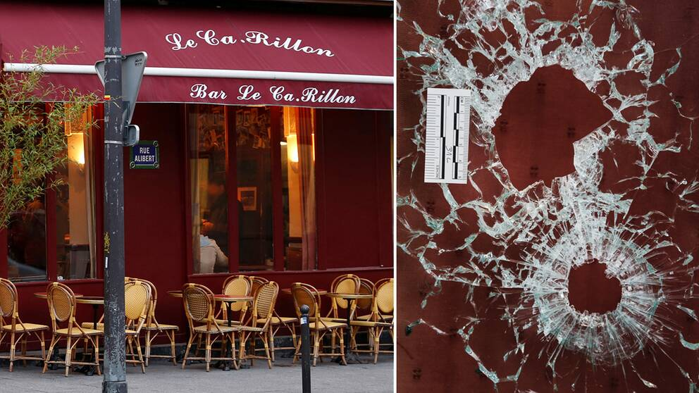 Baren le Carillon i Paris 10:e arrondissement, samt skotthål i krogens fönster.