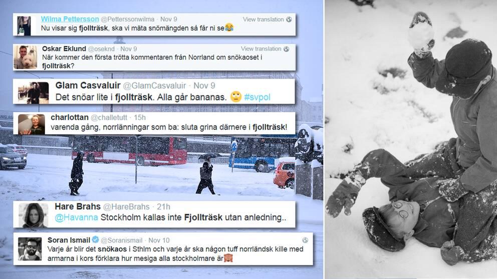 Snösmockorna har haglat i sociala medier när Stockholm och Norrland brakade samman i en hätsk twitterduell.