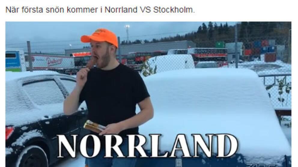 Youtube-humoristen Klas Eriksson gjorde en film som visade hur norrlänningar lugnt äter en glass när första snön kommer.
