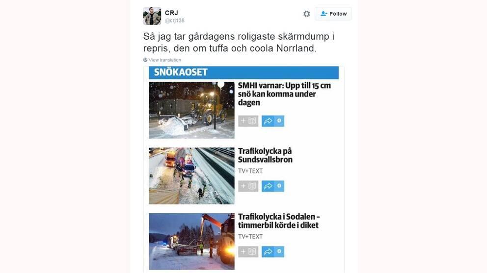Användaren CRJ tog en skärmdump från Östersundsposten för att illustrera att man även får snöstrul i norr.