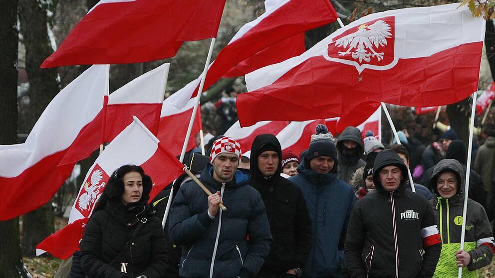 Nationalister tågar genom Warsawa.