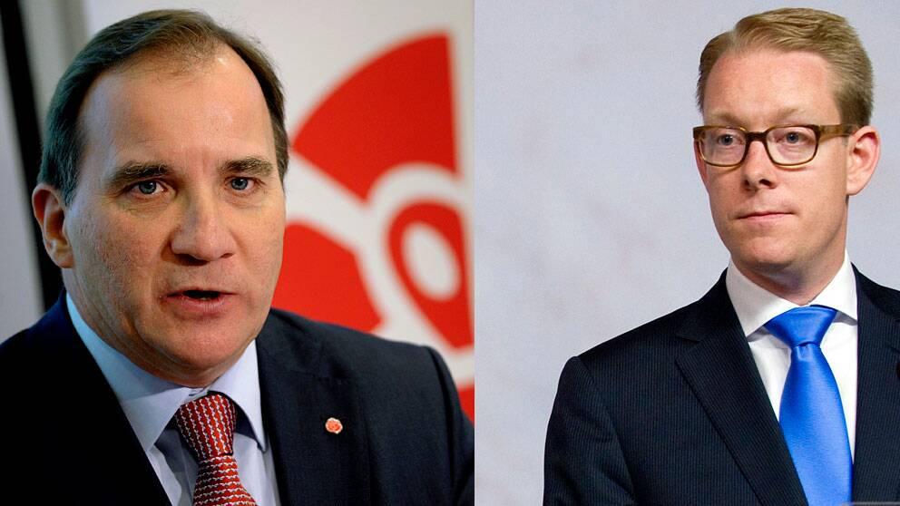 Socialdemokraternas partiledare Stefan Löfven och migrationsminister Tobias Billström.