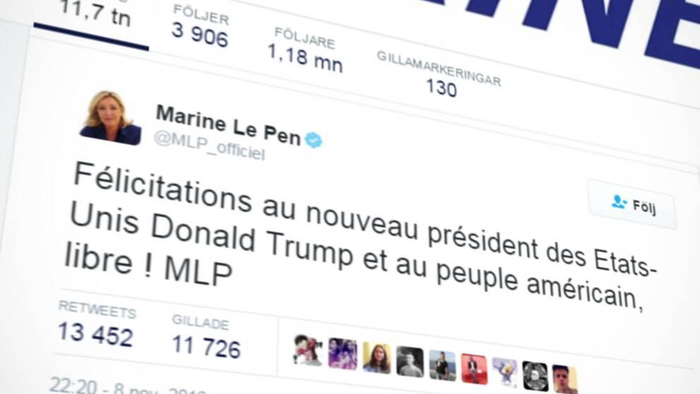 Twittermeddelande där Marine Le Pen gratulerar Donald Trump till valsegern.
