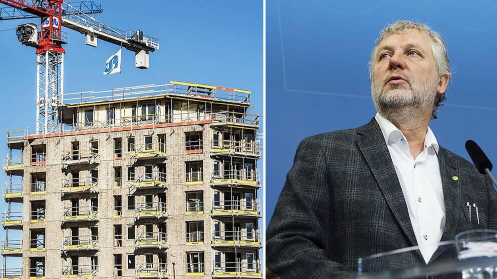 En byggarbetsplats och bostadsminister Peter Eriksson.