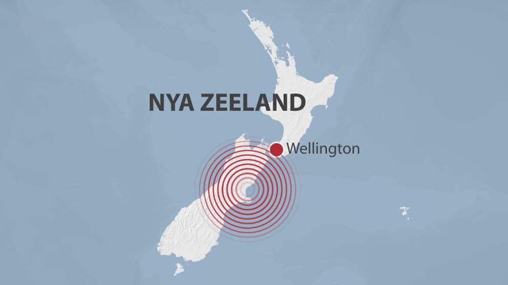 Karta över Nya Zeeland.
