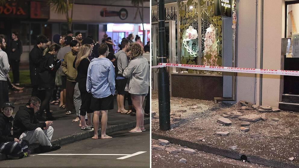 Evakuerade människor i Wellington och skadade hus.