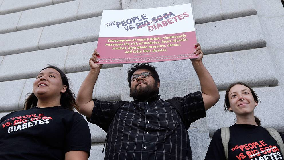 Demonstranter i San Francisco inför veckan omröstning.