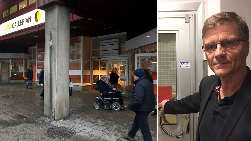 Luna gallerians entré. Glenn Karlsson, teamchef på Kronofogden i Södertälje.