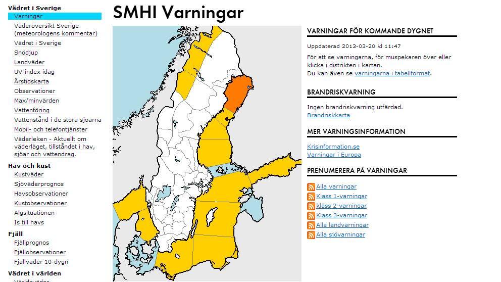 karta och varningar
