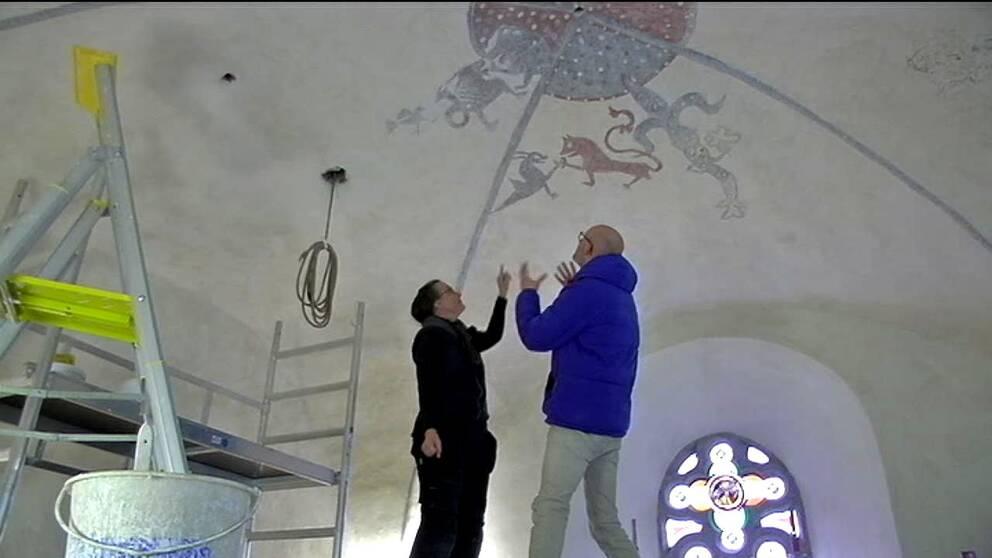 Nyfunnen muralmålning i Valla kyrka