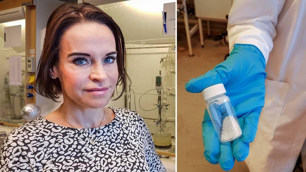fotomontage. Porträtt på Maria Strømme till vänster. Till höger en person i labbrock med blå vinylhandskar som håller i en burk med vitt pulver.