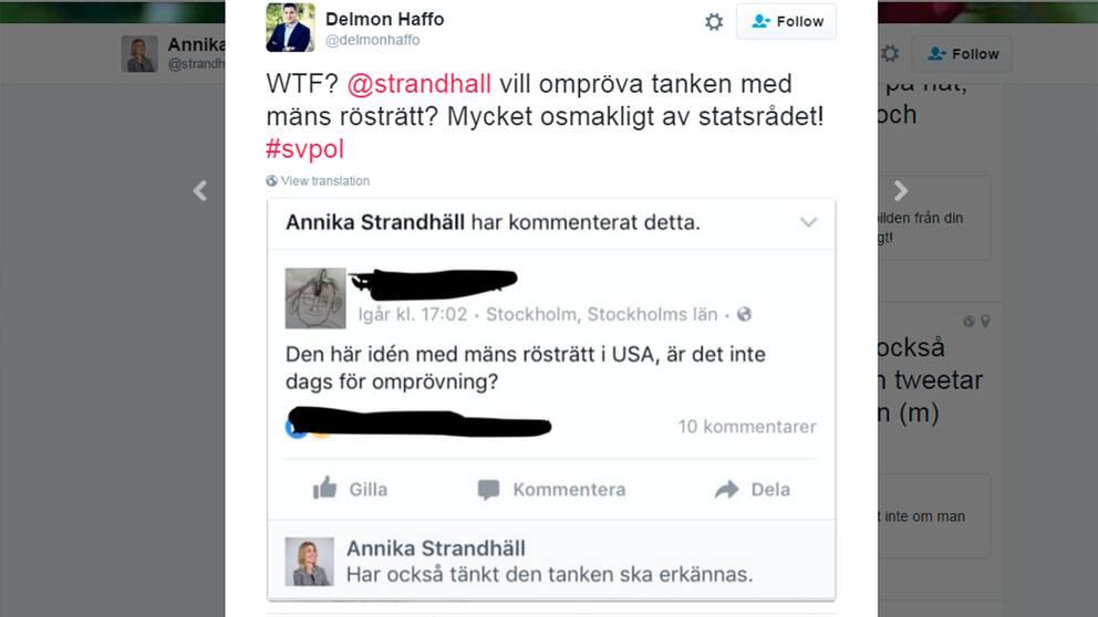 Kommentaren på sociala medier som ledde till Haffos uttalande om Strandhäll.