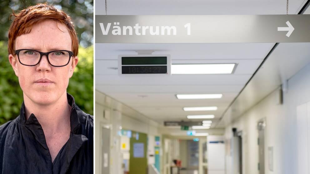 Fotomontage, till vänster ett porträtt på Frida Sandegård, förbundsordförande på RFSL. till höger en bild på en korridor på ett sjukhus. En skylt hänger i överdelen av bilden med texten. Väntrum 1. en pil pekar till höger.
