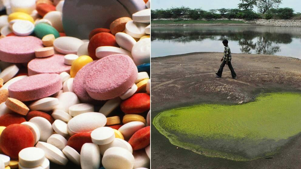 Läkemedelstillverkning förorenar vatten i Indien.