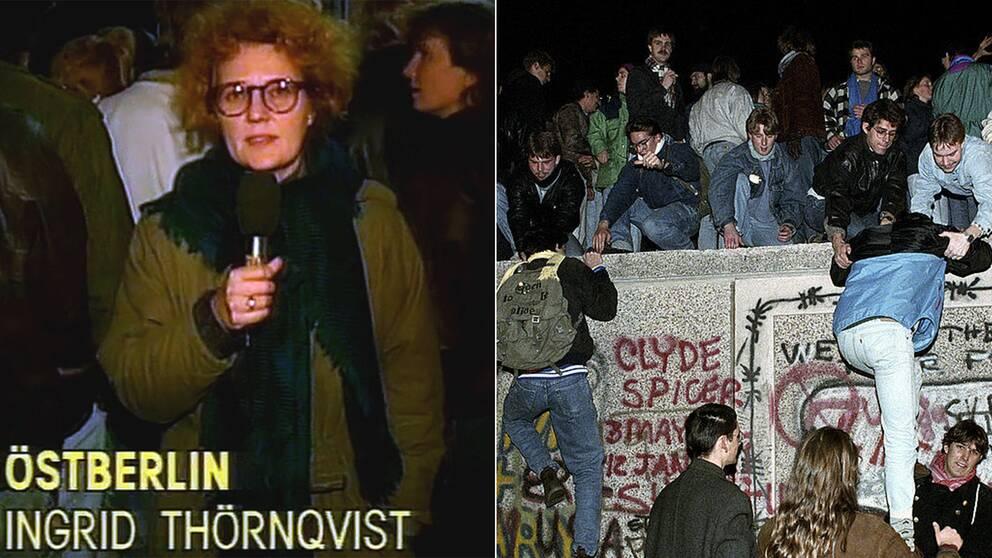 Berlinmurens fall den 9 november 1989. Arkivbilder.