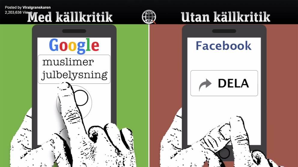 Två telefoner. En av telefonerna med överskriften källkritik, som googlar på orden muslimer och julbelysning. Den andra av telefonerna med överskriften utan källkritik, som delar på Facebook.