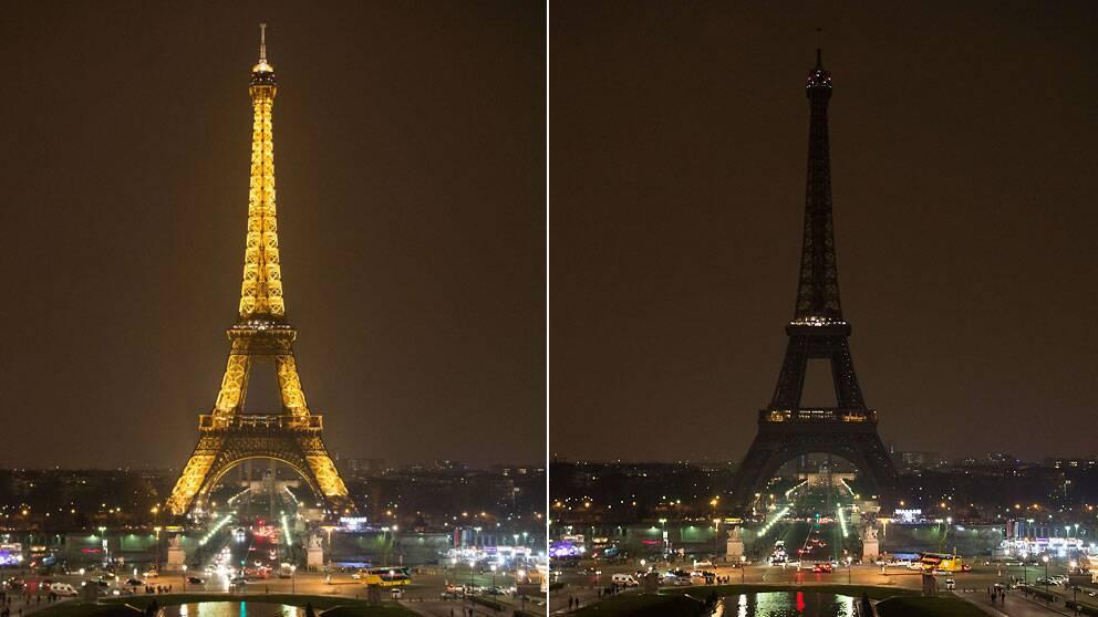 Eiffeltornet i Paris mörkläggs