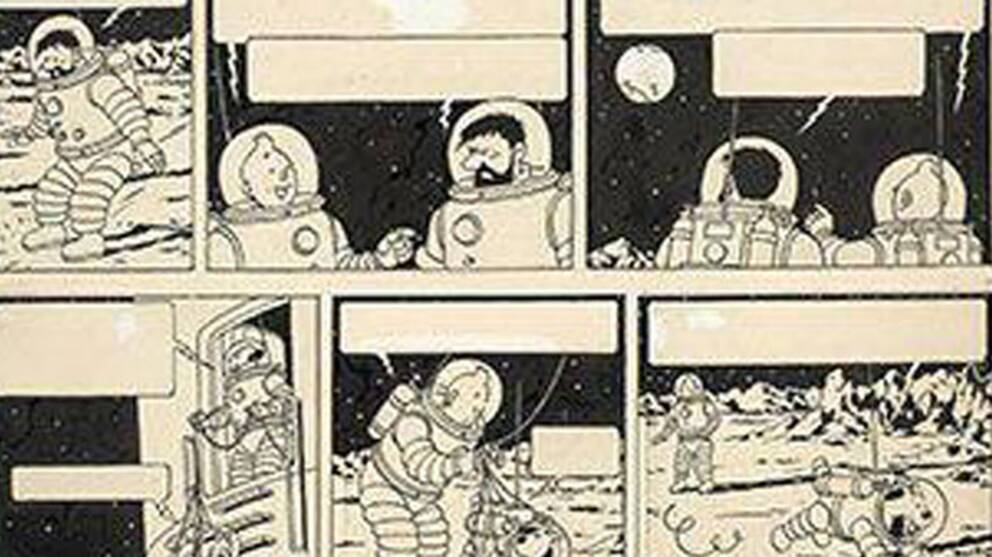 Ett orginalverk av Hergé föreställande Tintin på månen har sålts för rekordsumman 15 miljoner kronor