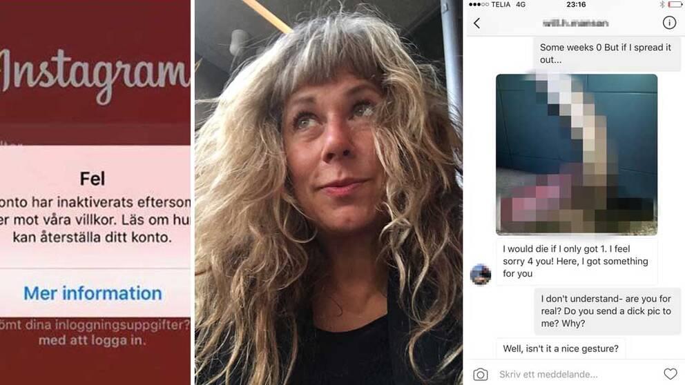 Stina Wollter fick bilder på könsorgan från näthatare. När hon skickade tillbaka bilderna till näthataren stängdes Stina av. Inte näthataren.
