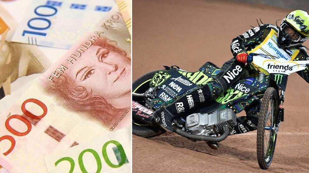Pengar och Anotonio Lindbäck i montage
