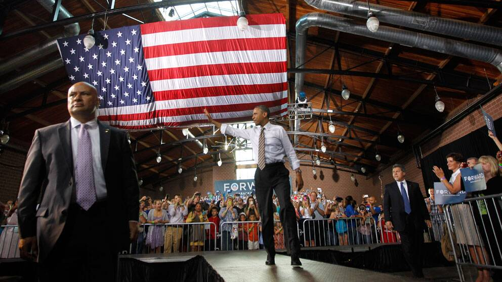 USA:s president Barack Obama kampanjar inför valet 2012. Foto: Scanpix