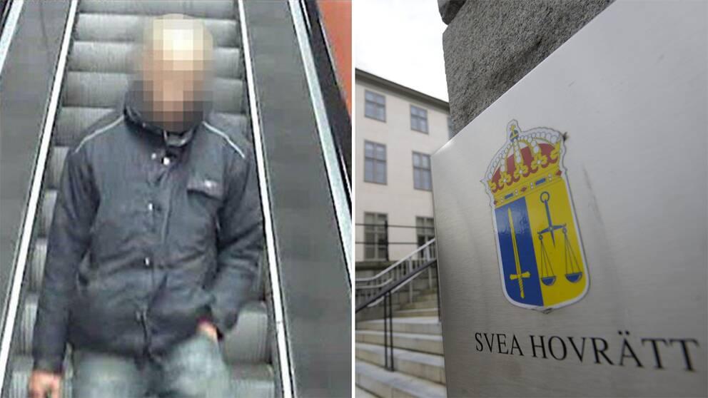 35-åringe tunnelbaneknuffaren och en bild på Svea Hovrätt.