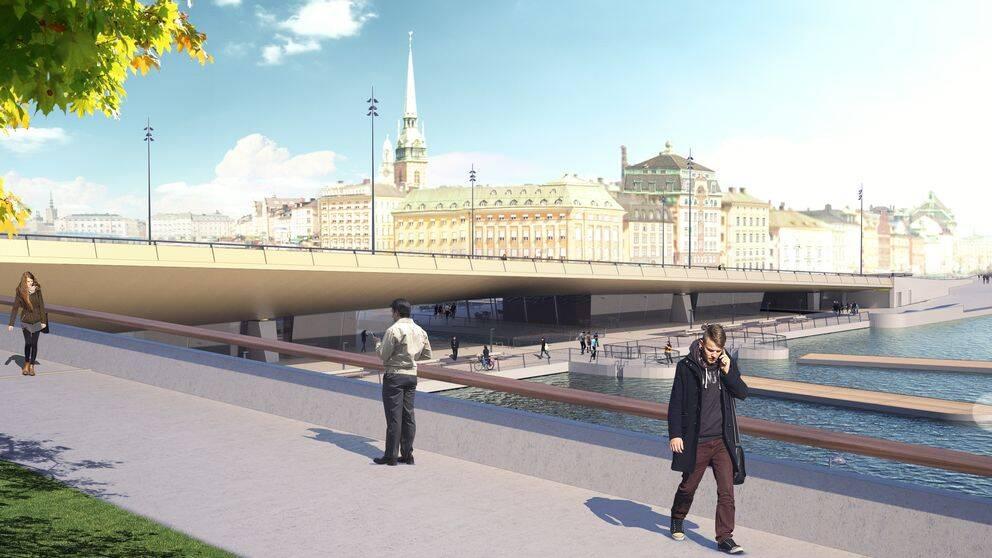 Illustration över hur den nya Slussenbron kommer att se ut.