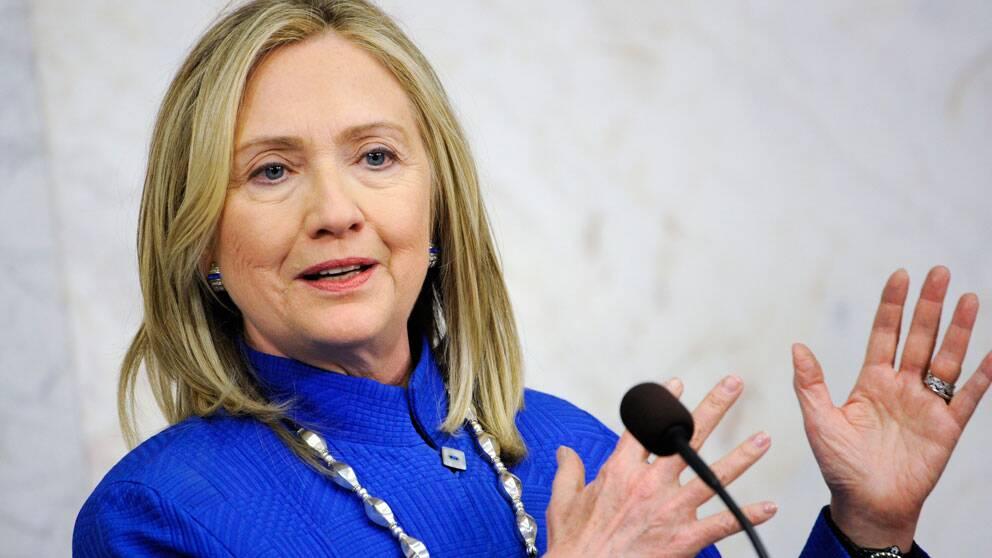 Hillary Clinton på Sverigebesök, pressträff 3 juni 2012. Foto: Scanpix