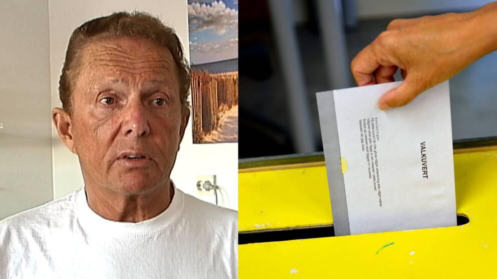 Bild på Kenneth Backgård och en hand som stoppar in ett valkuvert i en valurna