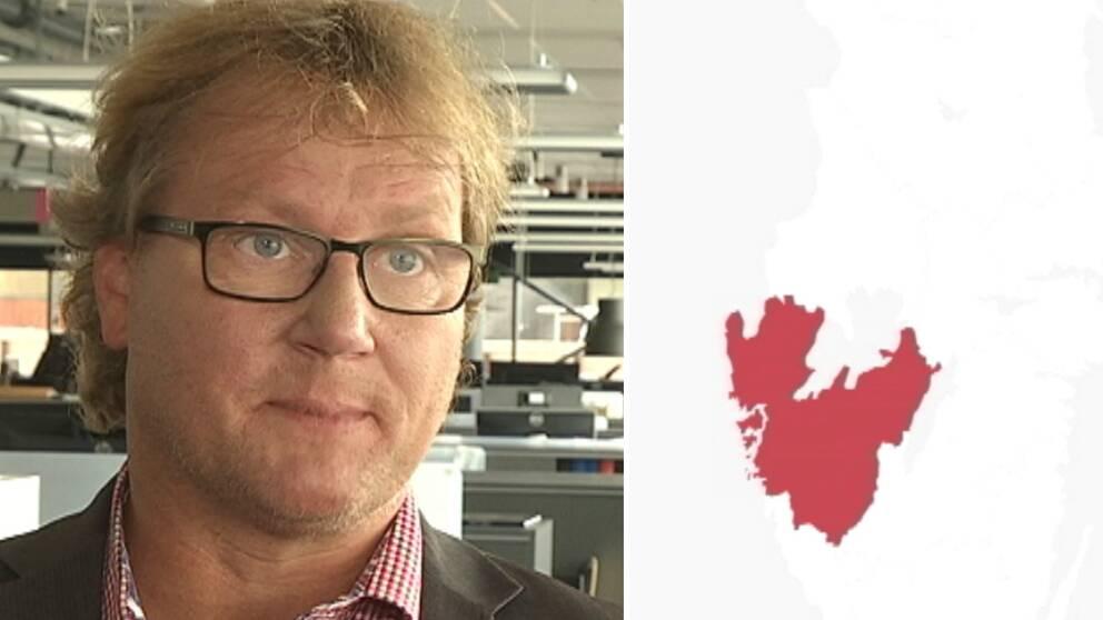 Jonas Andersson och en karta över den tilltänkta storregionen i väst