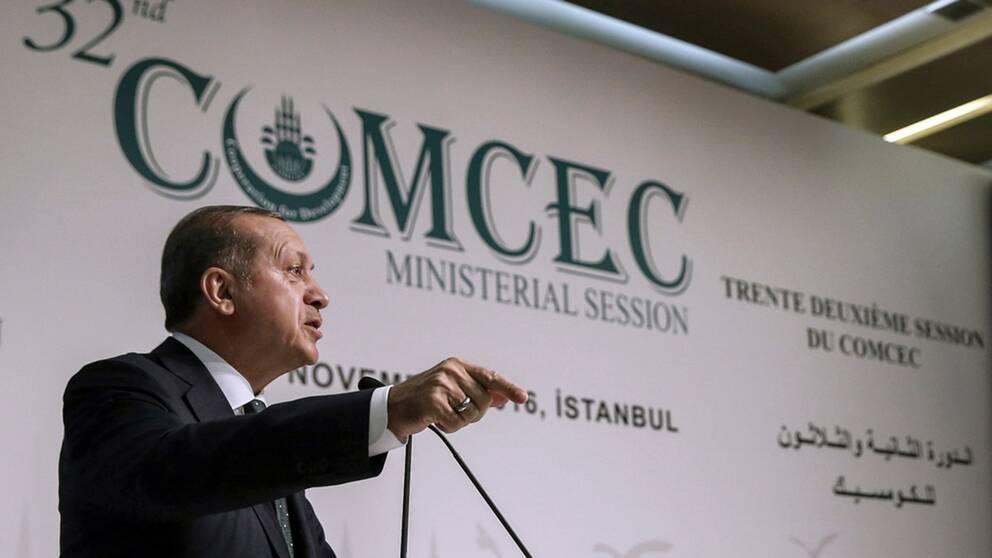 Erdogan talar vid konferensen