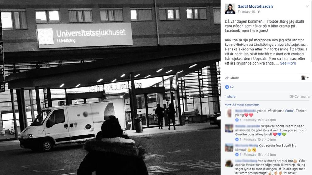 Bilden är en skärmdump från facebook. Till vänster syns en kvinna fotad bakifrån, hon är på väg mot Universitetssjukhuset i Linköping. Byggnaden syns i bakgrunden.